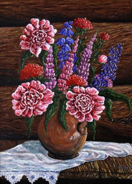 Натюрморт с цветами тобольского художника Григория Тукмачёва.