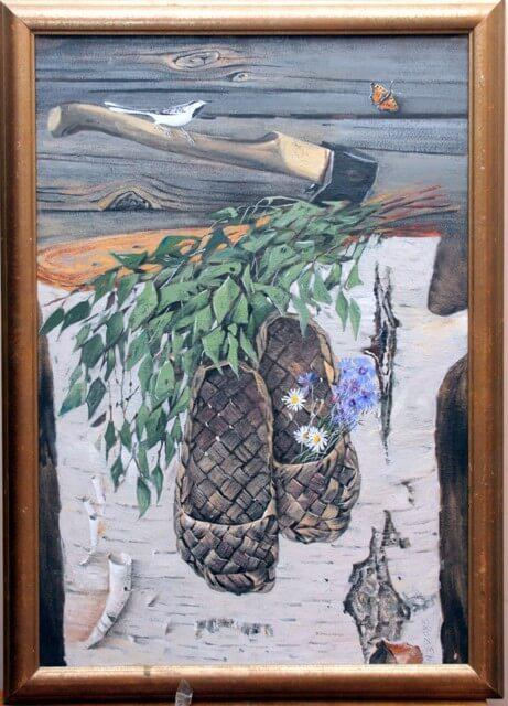 Картина Михаила Захарова «Натюрморт с лаптями».